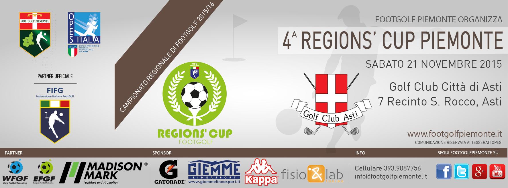 Locandina 4 tappa Regions' Cup Footgolf Piemonte 2015:2016 Asti AT sabato 21 novembre 2015