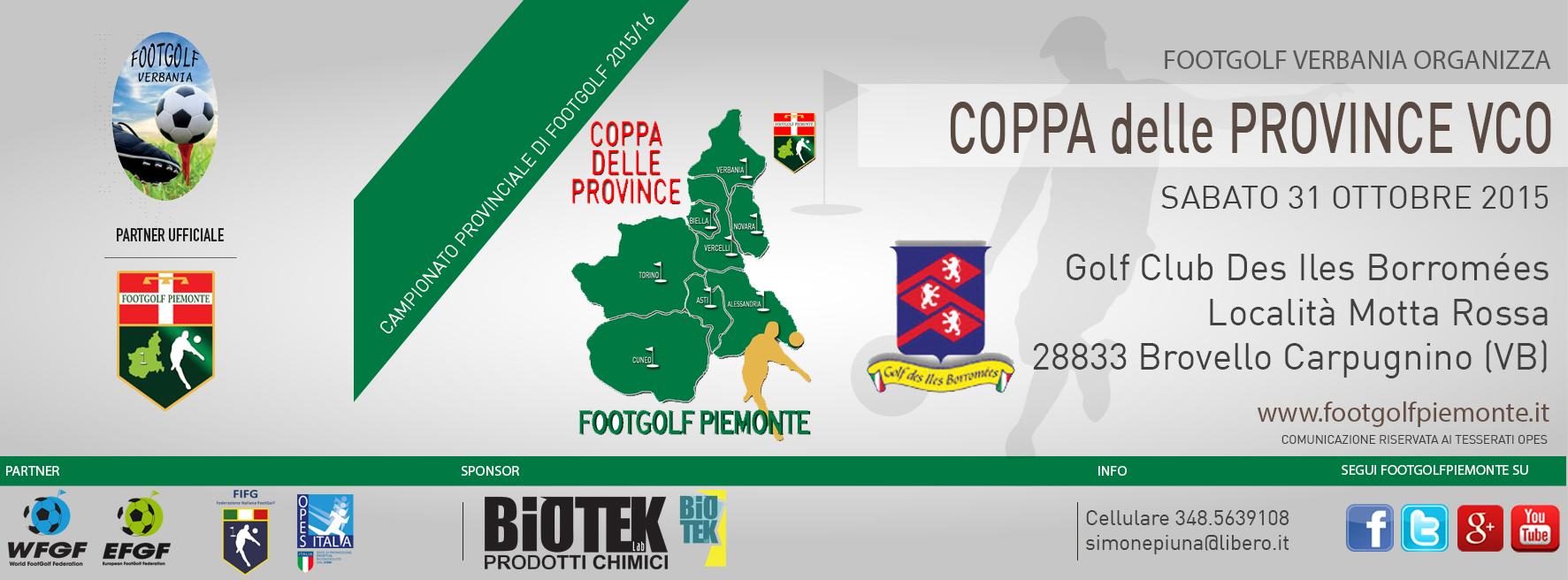Locandina Coppa delle Province VCO Footgolf Piemonte 2016 carpugnino sabato 31 ottobre 2015
