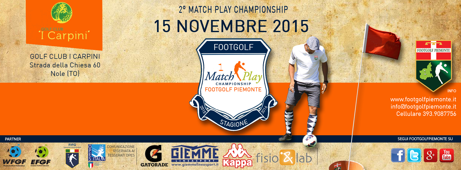 Locandina 2 tappa Match Play Footgolf Piemonte 2016 Nole TO domenica 15 novembre 2015