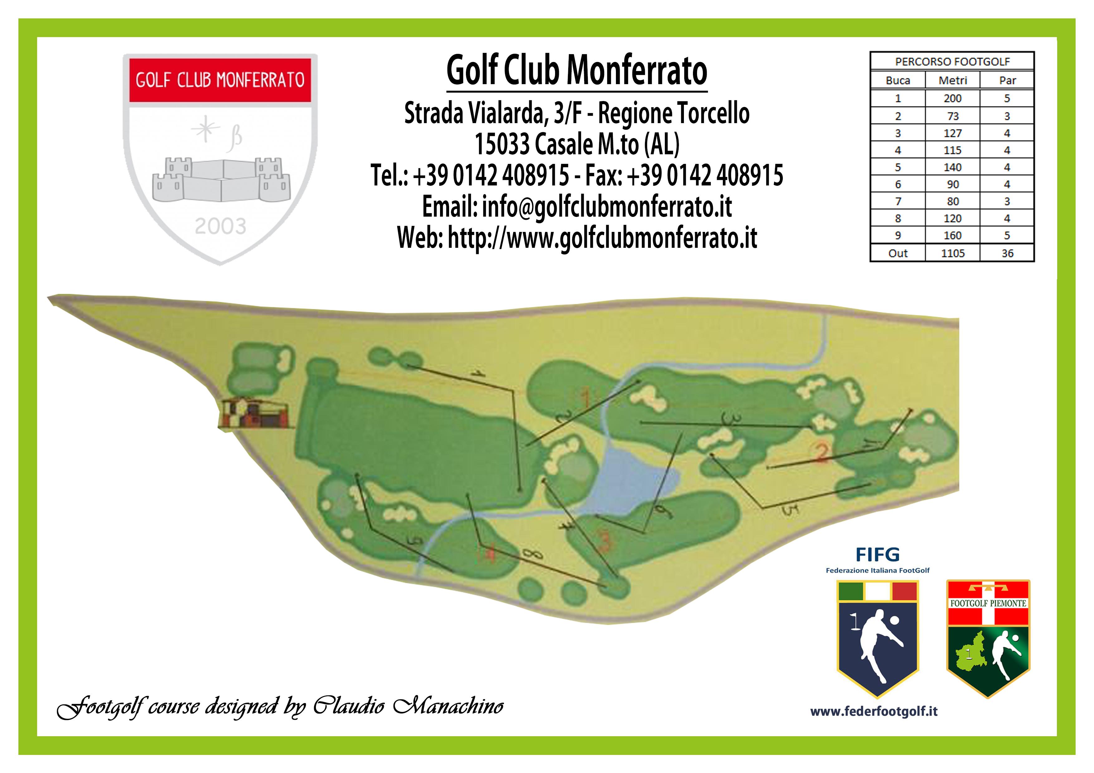 Percorso di gara 9 buche footgolf del Golf Club Monferrato