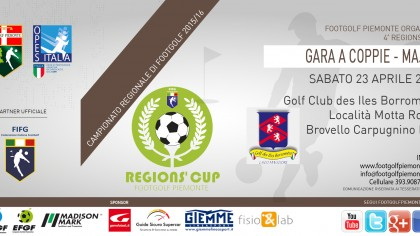 Locandina 4 tappa Regions' Cup Footgolf Piemonte 2015-2016 A coppie Brovello Carpugnino VB sabato 23 aprile 2016 Facebook
