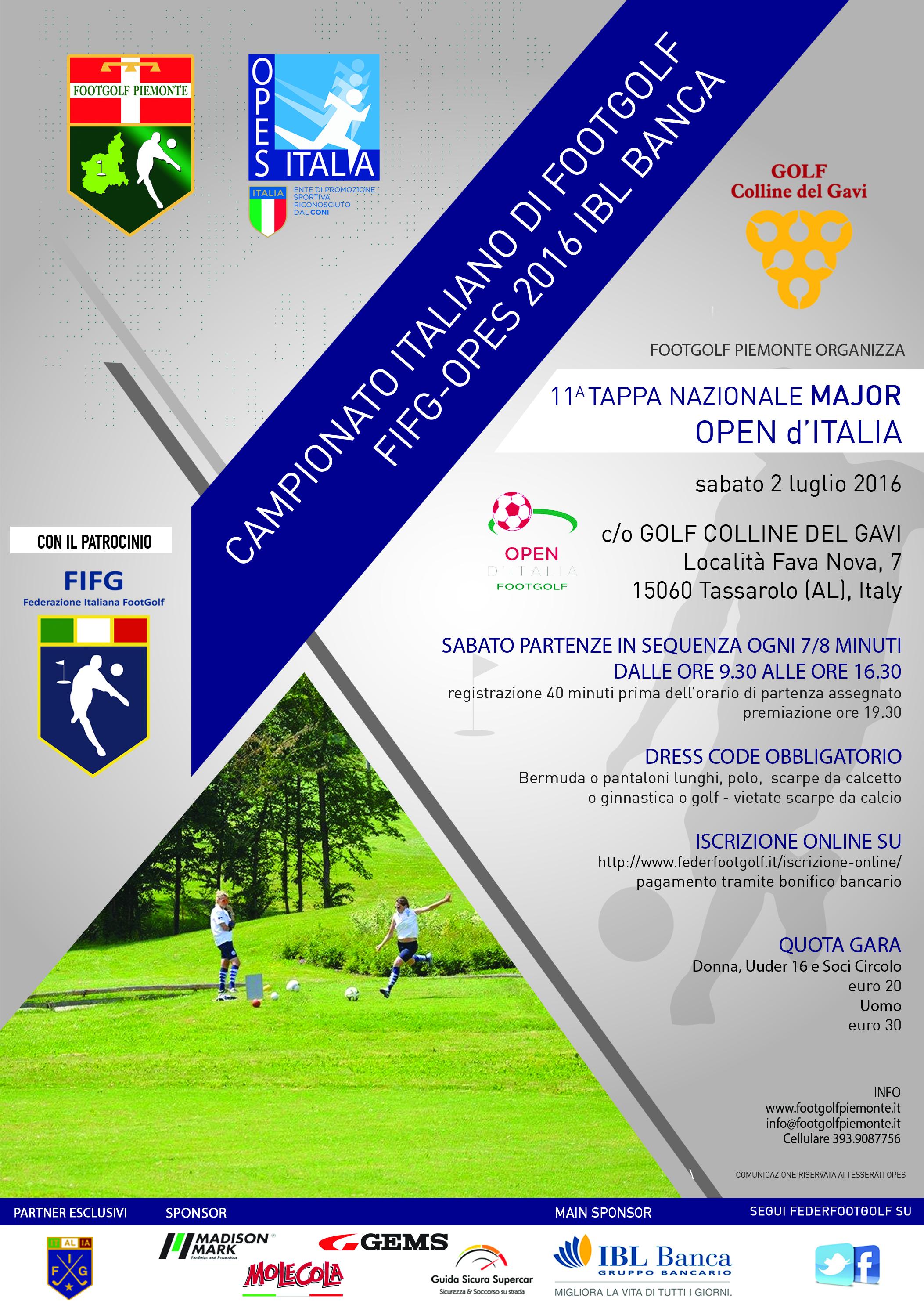 Locandina 3 Open d'Italia Footgolf Piemonte Gavi AL sabato 2 luglio 2016