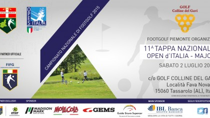 Locandina 3 Open d'Italia Footgolf Piemonte Gavi AL sabato 2 luglio 2016 Facebook