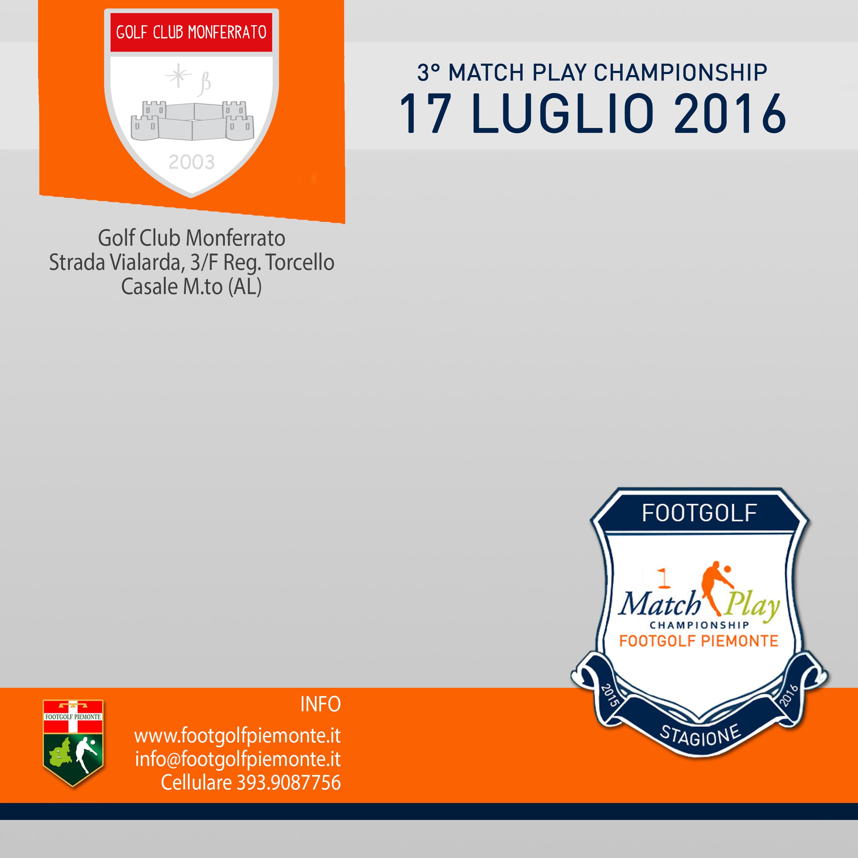 Locandina 3 tappa Match Play Footgolf Piemonte 2016 Casale AL domenica 17 luglio 2016 Negozio